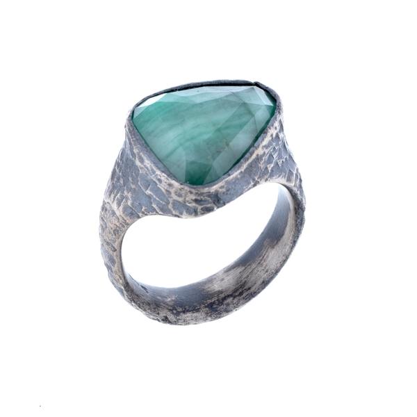 Rustic Raw Emerald Ring