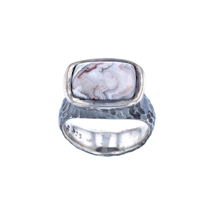 Rustic Lace Agate Ring